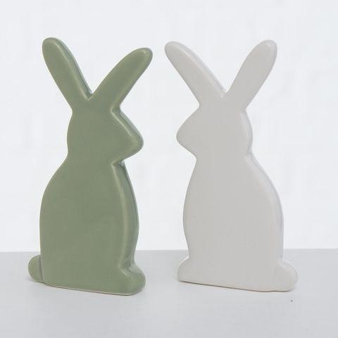 Figur Wally , 2 sort., Hase, H 10,00 cm, Dolomit, Grün, Weiß