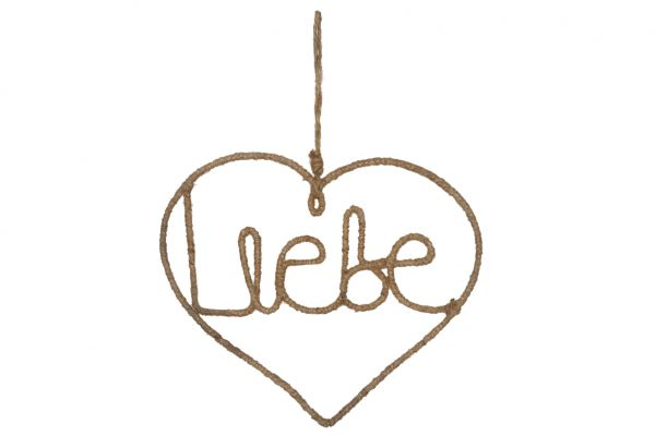 Hanging rope heart liebe 24x21cm