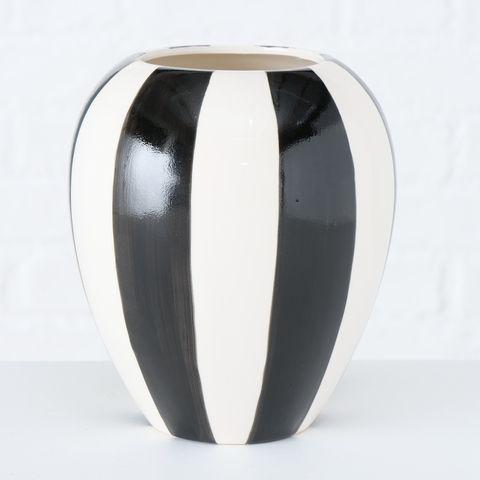 Vase Emser, H 16 cm, Steingut, Mehrfarbig, Schwarz, Weiß