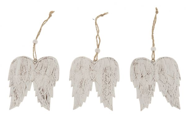 Wooden wings on rope 9x7x0.5cm 5pc