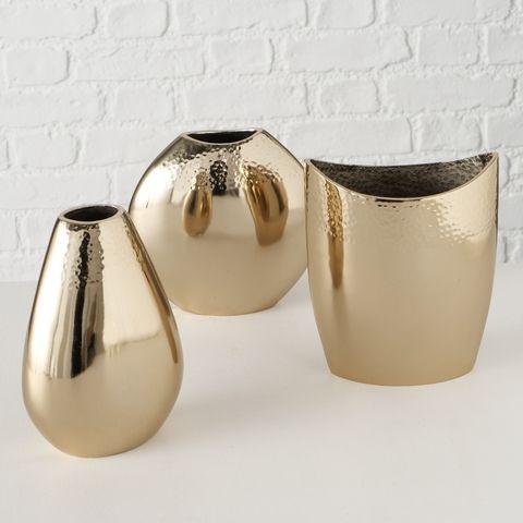 Vase Yasomi, 3 sort., Deko, H 18,00 cm, Aluminium, Champagner