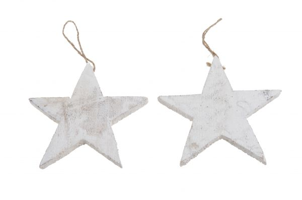 Wooden star 15cm rope 10pc