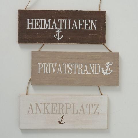 Schild Tomme, 3 sort., Maritim, Typografie, B 12,00 cm, L 30,00 cm, H 1,00 cm