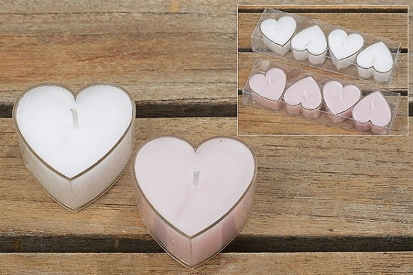 Teelicht Herz, 4 tlg., 2 sort., Herz, D 4,00 cm, Wachs