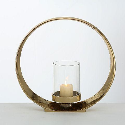 Windlicht Rolond, H 28 cm, B 9 cm, Aluminium, Gold