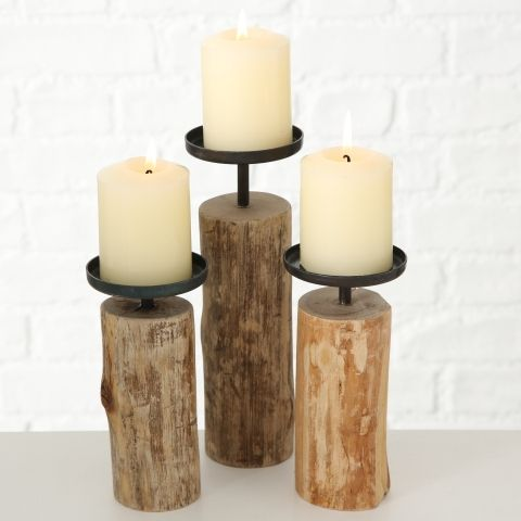 Kerzenleuchter Tempe, Rund, H 17 cm, Eukalyptus
