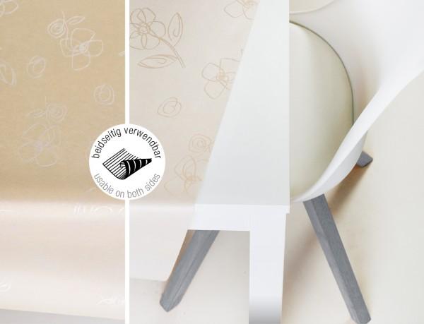 Tischbelag VidaTex Royal Grafik Blume beige Meterware 140 cm