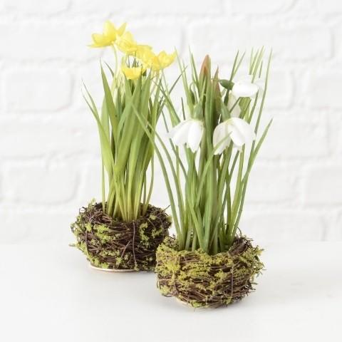 Blume im Nest 2s H20cm Kunststoff