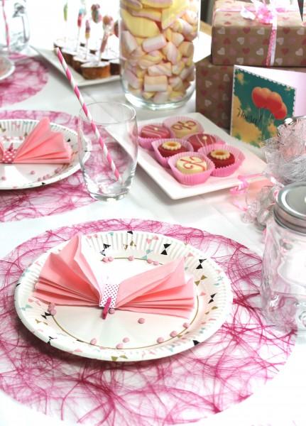 Tischsets Party 34x34 cm rund - fuchsia