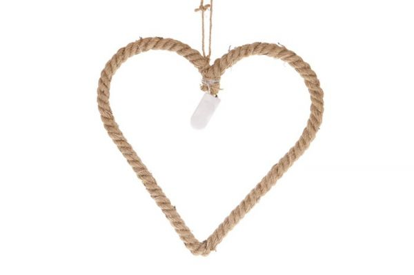 Jute rope heart with 15 led lights 30x29cm bo