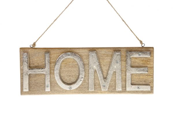 Sign home mango wood / aluminum 35x1.5x12cm