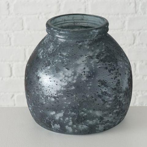 Windlicht Verma, H 20,00 cm, Recyceltes Glas lackiert, Mehrfarbig, Anthrazit
