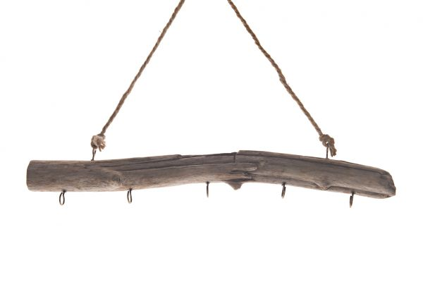 Historic wood stick hanger with 5 hooks 50x25cm