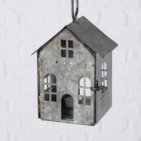 Windlicht Heimo, H 13,50 cm, Zink, Einfarbig, Grau