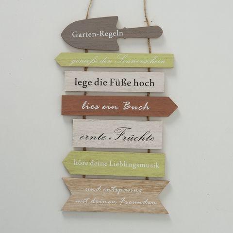 Schild Gartenregeln, Typografie, B 0,60 cm, L 21,00 cm, H 34,00 cm