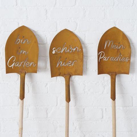 Gartenstab Schaufel, 3 sort., Halbrund, H 160,00 cm, Eisen, Mehrfarbig