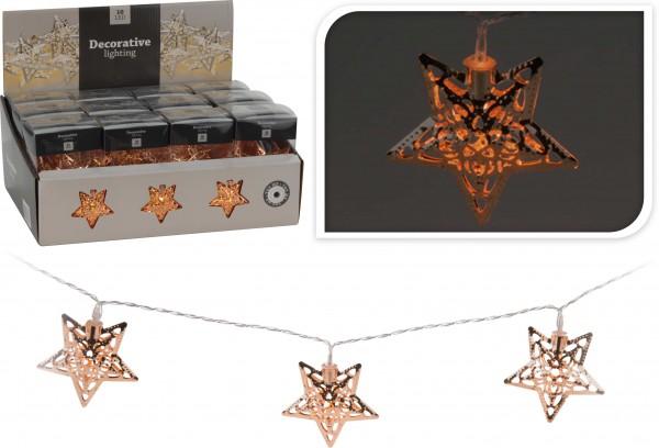 Lichterkette mit 10 LED, Sterne bronze