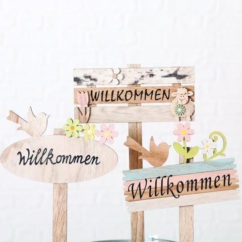 Gartenstab Willkommen 3s H42cm Sperrholz