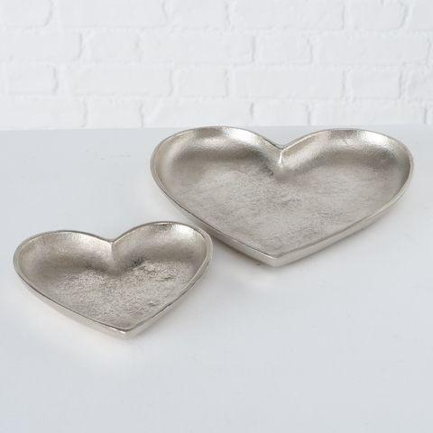 Schale Jolien, Deko, Herz, H 2,00 cm, Aluminium vernickelt