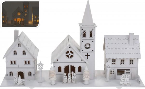 Weihnachtsdorf mit Beleuchtung ca. 38 cm