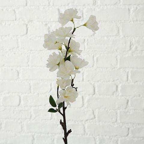 Dekozweig Cherry, Indoor, H 50 cm, Plastik, Weiß