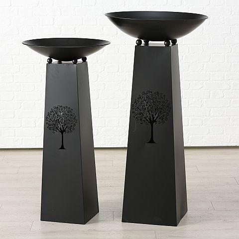 Schale Arbo, Deko, H 102 cm, D 50 cm, Eisen schwarz