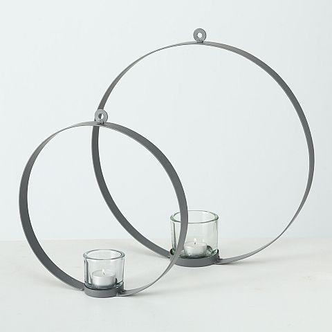 Windlicht Centro, H 30 cm, Materialmix, Eisen, Grau