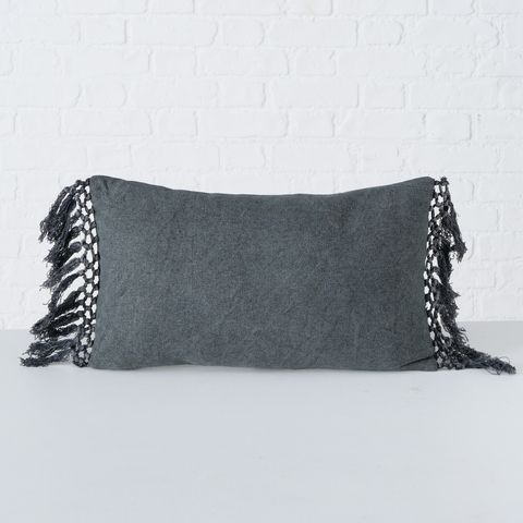 Kissen Linou, Baumwolle / 100%, Einfarbig, Dunkelgrau, 50x30cm, Füllung 100% Polyester