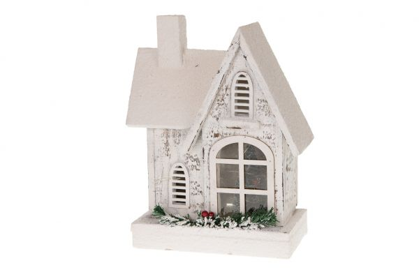 House with 15 led lights wood 30cm