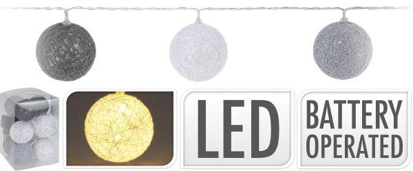 LED RAFFIA BEL 10STK GRAU/WEISS