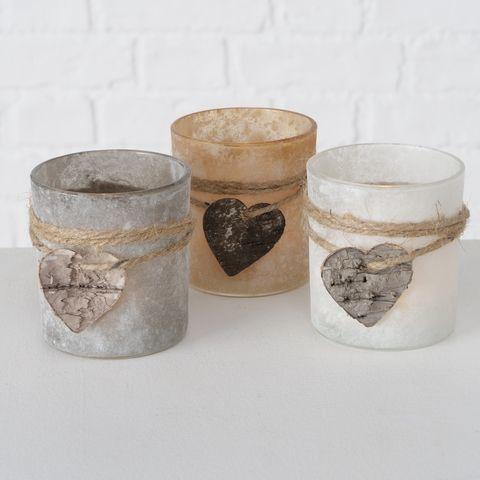 Windlicht Seliko, 3 sort., H 8,00 cm, Glas lackiert, Mehrfarbig, Beige, Grau, We