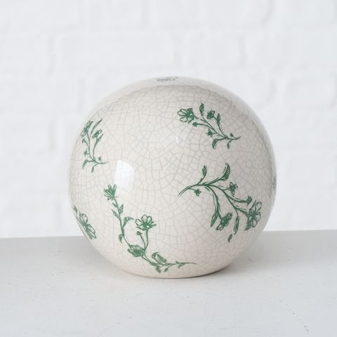 Deko-Kugel Silka, D 12,00 cm, Steingut, Crackle, Floral