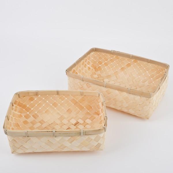 Korb-Set 2tlg. rechteckig Bambus