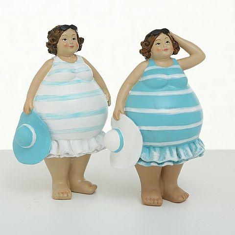 Figur Irene, 2 sort., Frau, H 14,00 cm, Kunstharz, Blau