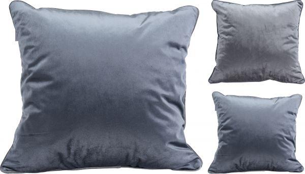 Kissen samt 45X45CM, grau, blau, 2sort.,Füllung 100% Polyester