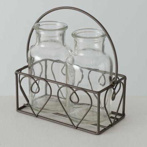 Vase Lotta, 3 tlg., H 13,00 cm, Eisen, Klarglas, Mehrfarbig, Braun mit Patina, Transparent Materialm