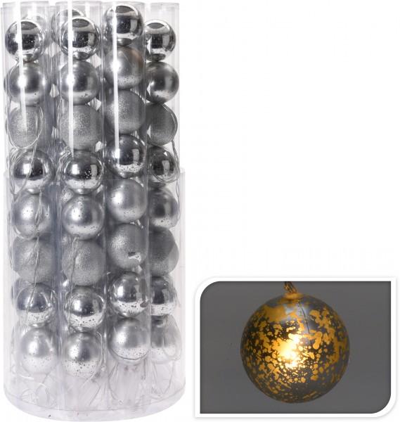 Lichterkette silber Weihnachten LED Kugeln warmweiß 7 cm