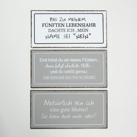 Schild Familie, 3 sort., Eisen, Farbmix Eisen Farbmix