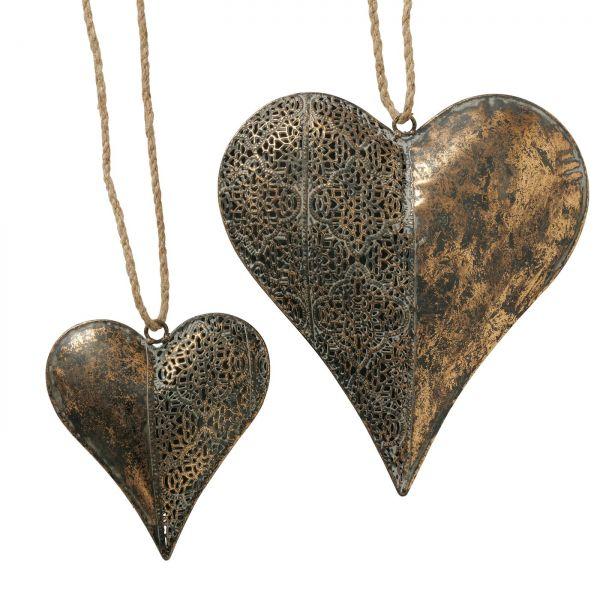 Dekoanhänger Mauritius, Herz, L 14,00 cm, H 16,00 cm, Metallic Eisen antikgold