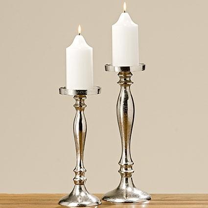 Kerzenleuchter Flaire, Rund, H 36,00 cm, Aluminium, Silber