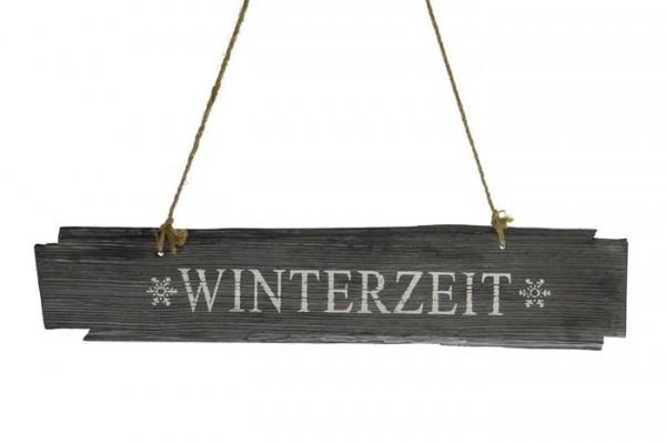Holzschild Winterzeit 58x10x1 cm