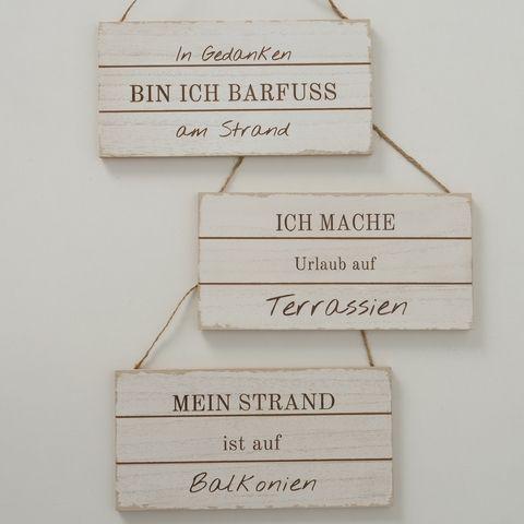 Schild Strand, 3 sort., Typografie, B 15,00 cm, L 30,00 cm, MDF