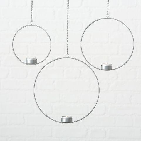 Teelichthalter Rumba, H 16 cm, B 4 cm, Eisen silber
