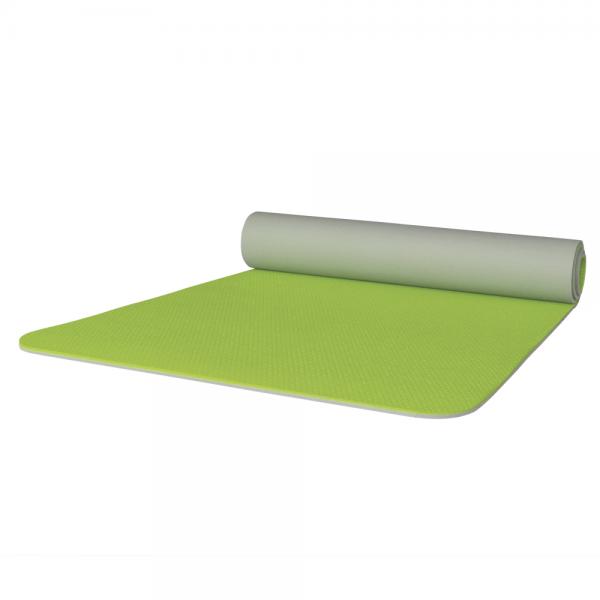 Gymnastikmatte apfelgrün grau zweifarbig 65 x 180 cm abgerundet
