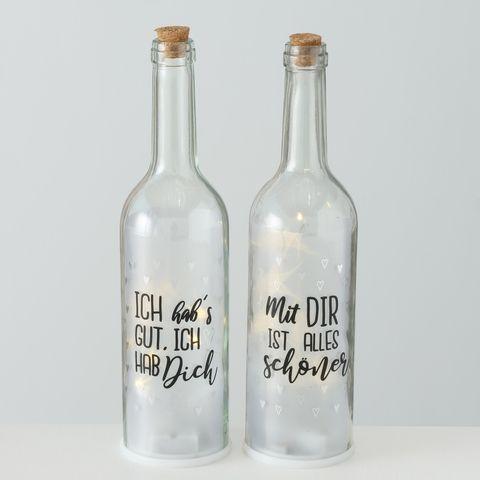 Flasche Marry, 2 sort., Deko, LED, H 29,50 cm, Transparent, Schwarz, Natur