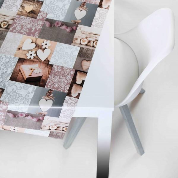 Tischbelag Vida Style Romantic heart rose Meterware 140 cm