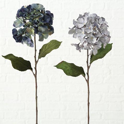 Kunstpflanze Hortensie, 2 sort., Indoor, H 74 cm, Plastik, Blau Kunststoff blau