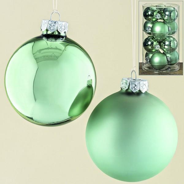 Kugel 12tlg D8cm Wintergrün Glas lackiert