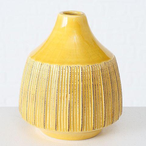 Vase Menos, H 14,00 cm, Steingut, Shabby, Einfarbig