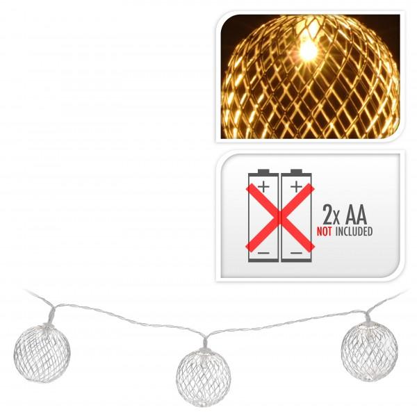 LICHTERKETTE Drahtkugel silber 10 LED